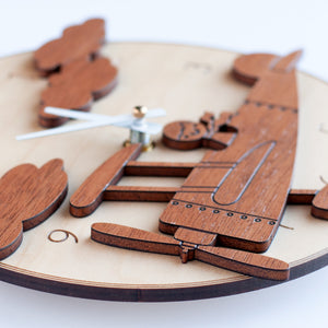 Round Airplane Wooden Wall Clock: Boy