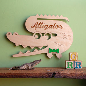 Alligator Wooden Wall Hanging