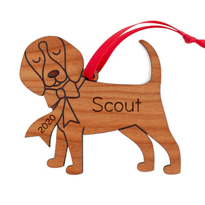 Beagle Wooden Christmas Ornament