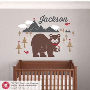 Bear Mountain with Name Wall Decal