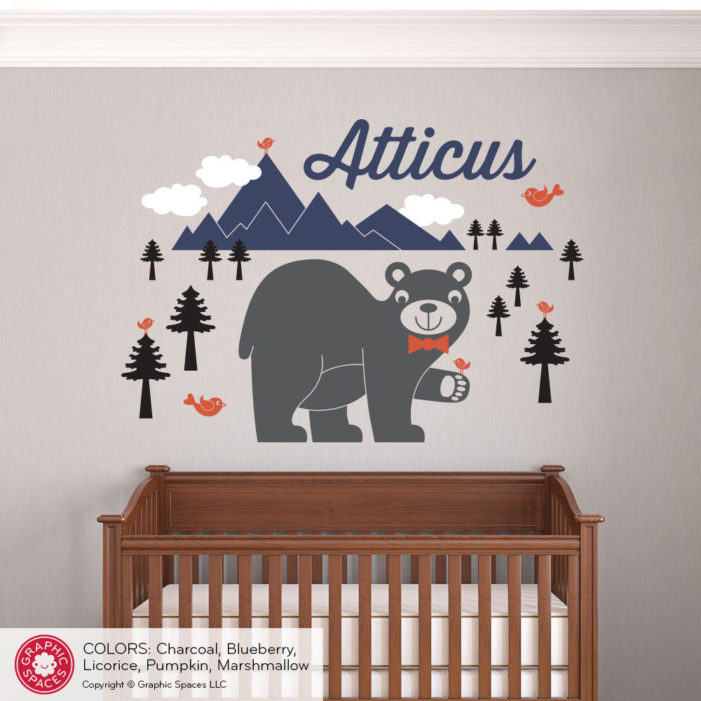 Bear Mountain With Name Wall Decal Graphic Spaces