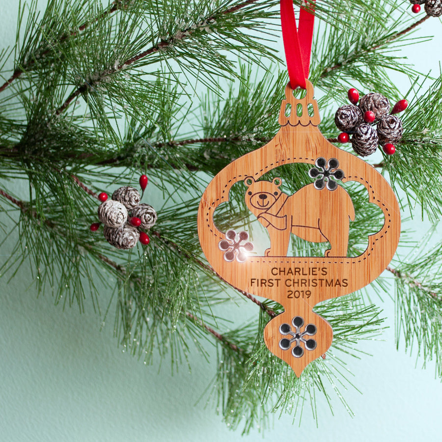 woodland bear christmas ornament baby's first christmas personalized keepsake
