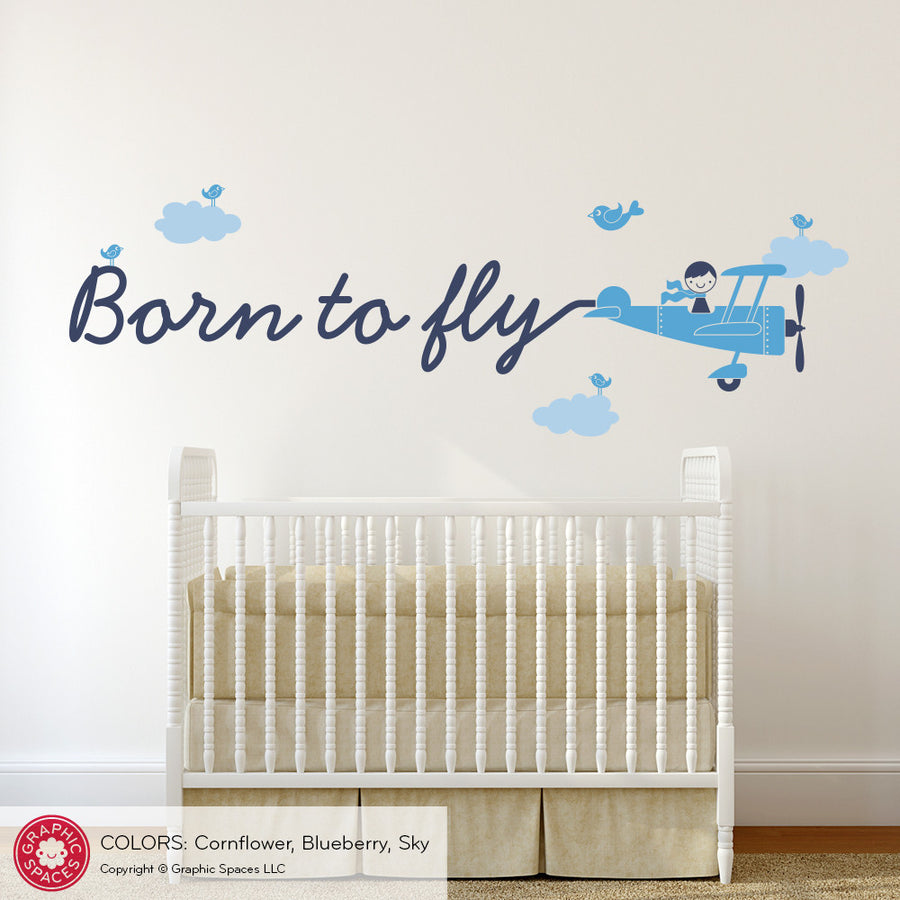 Airplane Skywriter Wall Decal: Born to fly