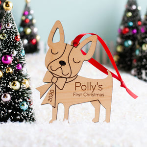 French Bulldog Wooden Christmas Ornament