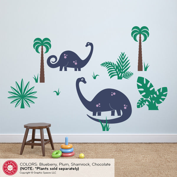 Brontosaurus Dinosaur Wall Decal: Medium 2-Pack
