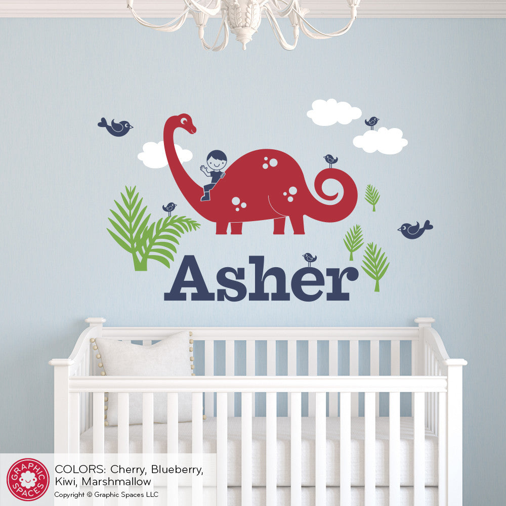 Brontosaurus dinosaur boy rider name wall decal graphic spaces brontosaurus dinosaur wall decal with name amipublicfo Choice Image
