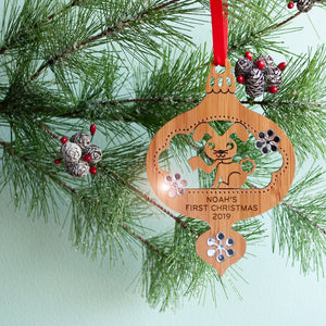woodland bunny christmas ornament baby's first christmas personalized keepsake