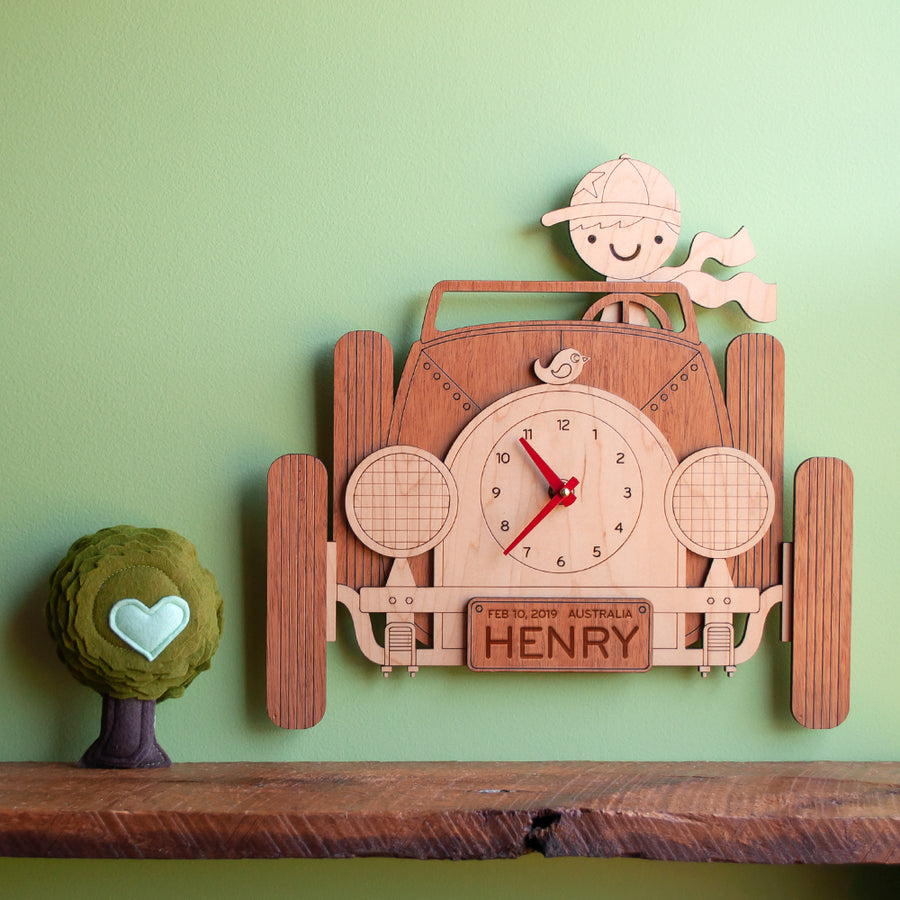 Car Wooden Wall Clock: Boy