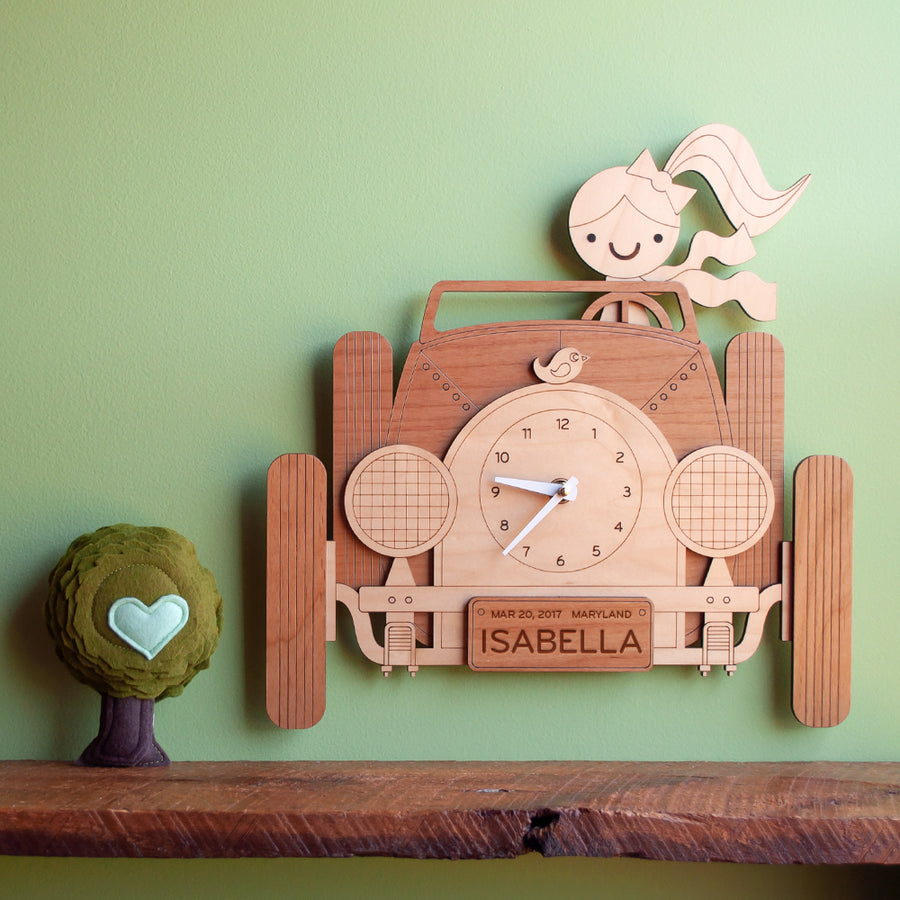 Car Wooden Wall Clock: Girl