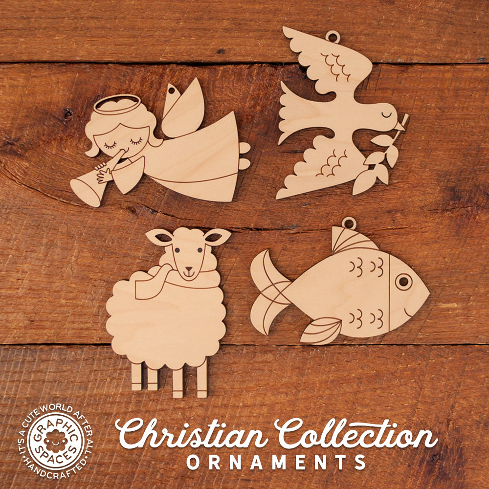 wooden christian Christmas ornament collection