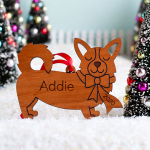 Pembroke Welsh Corgis Wooden Christmas Ornament