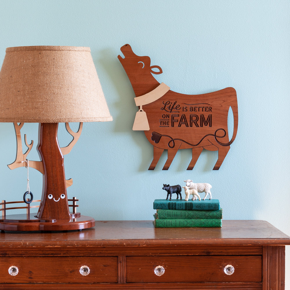 Cow Wooden Wall Sign Life Is Better On The Farm Farmhouse Hanging Graphic Spaces