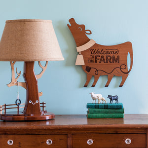 "Cow Wooden Wall Sign ""Welcome to the farm"""