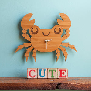 Happy Crab Wooden Wall Clock