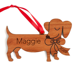 Dachshund Wooden Christmas Ornament