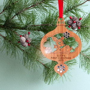 woodland deer christmas ornament baby's first christmas personalized keepsake