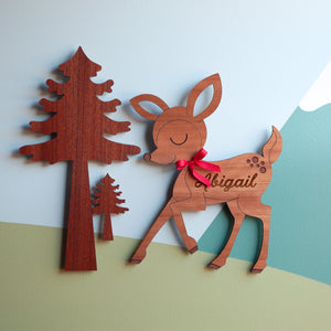 Deer Wooden Room Door Sign