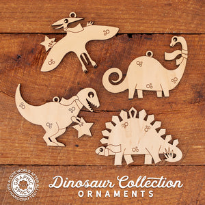 2018 Dinosaur Collection of Handmade Personalized Wooden Christmas Ornaments by Graphic Spaces