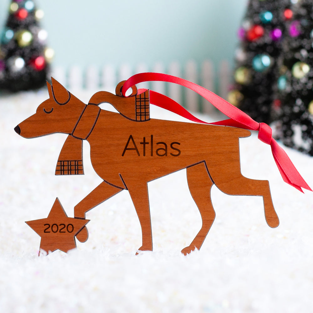 Doberman Pinscher Wooden Christmas Ornament