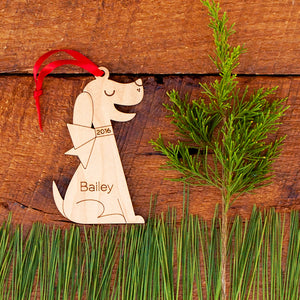 Handmade original lab retriever puppy dog Christmas ornament personalized in choice of wood & engraved by Graphic Spaces