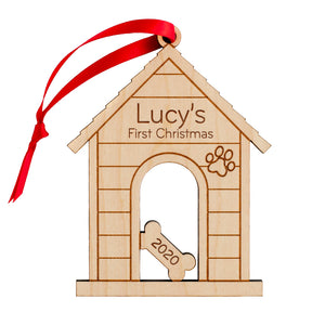Dog House Wooden Christmas Ornament