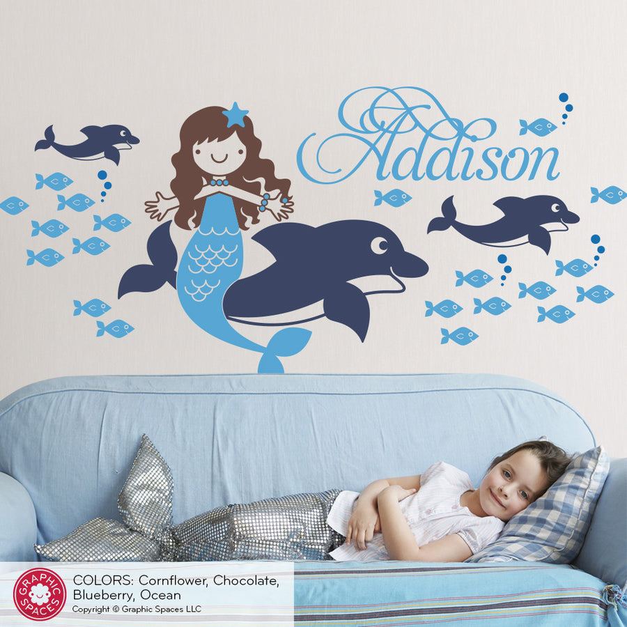 Mermaid Dolphin Wall Decal