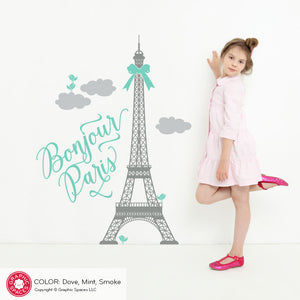 "Eiffel Tower Wall Decal ""Bonjour Paris"" Quote"