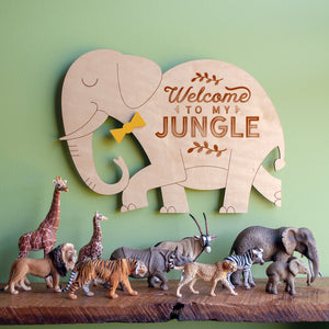 Welcome to my Jungle: Wood Elephant Wall Hanging