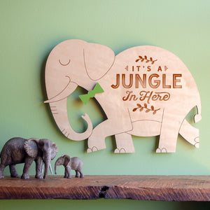 It's a Jungle in Here: Wood Elephant Room Sign