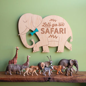 Let's go on Safari: Wood Elephant Room Sign