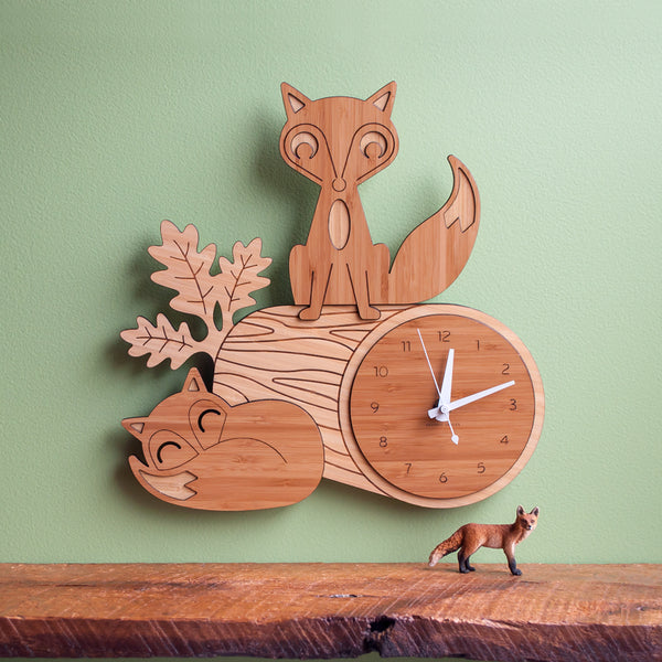 Fox Log Bamboo Wall Clock