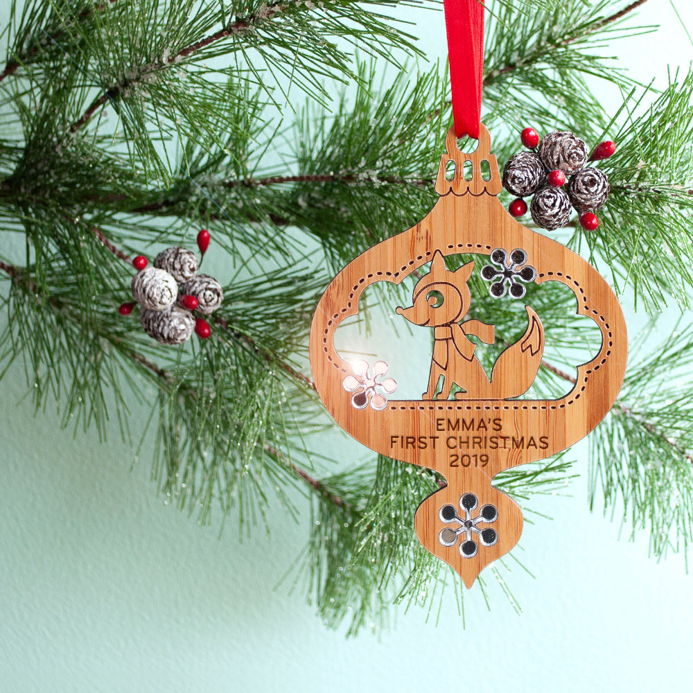 woodland fox christmas ornament baby's first christmas personalized keepsake