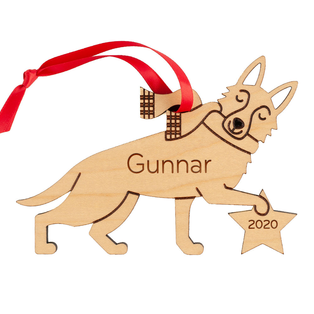 German Shepherd Wooden Christmas Ornament