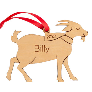 Goat Wooden Christmas Ornament