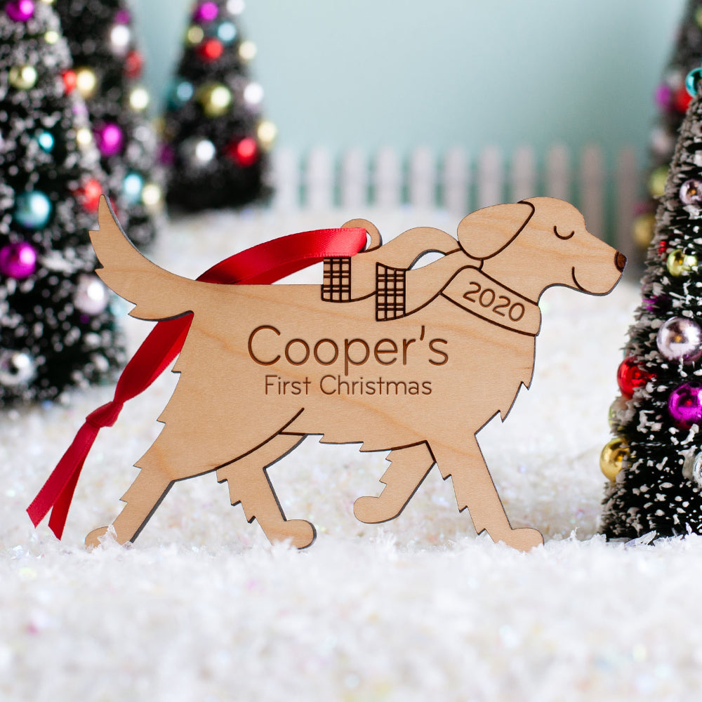 Golden Retriever Wooden Christmas Ornament