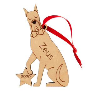 Great Dane Wooden Christmas Ornament