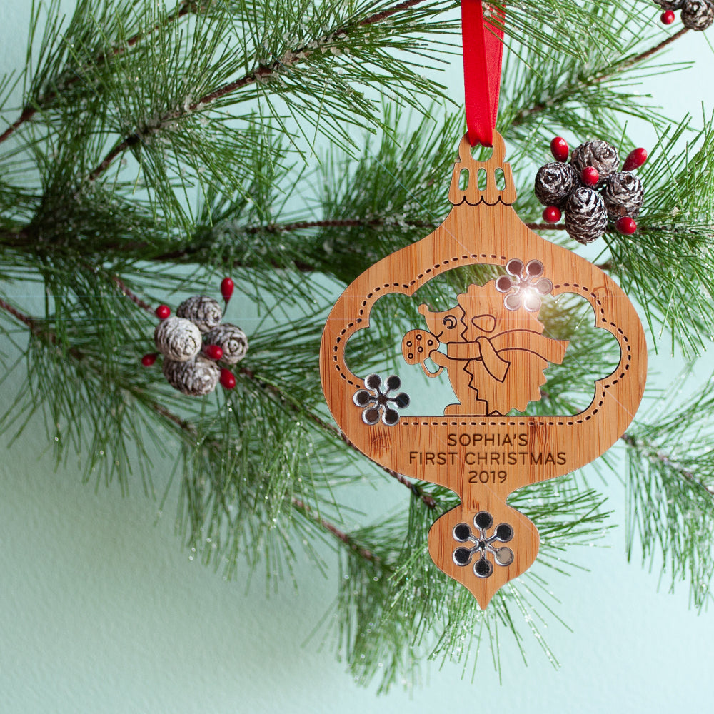woodland hedgehog christmas ornament baby's first christmas personalized keepsake