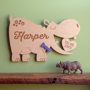 Hippo Wooden Room Sign