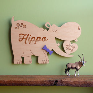 Hippo Wooden Wall Hanging