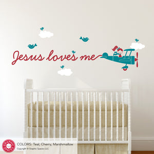 Airplane Skywriter Wall Decal: Jesus loves me