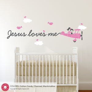 Jesus Loves Me Skywriter Airplane Wall Decal