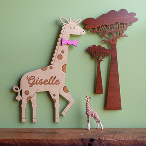 Jungle Safari Tree Wooden Wall Hanging