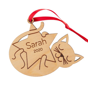 Cat Wooden Christmas Ornament