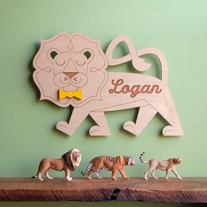 Lion Wooden Room Sign
