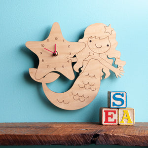 Mermaid Wooden Wall Clock