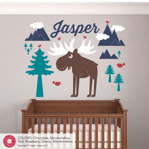 Moose Mountain with Name Wall Decal