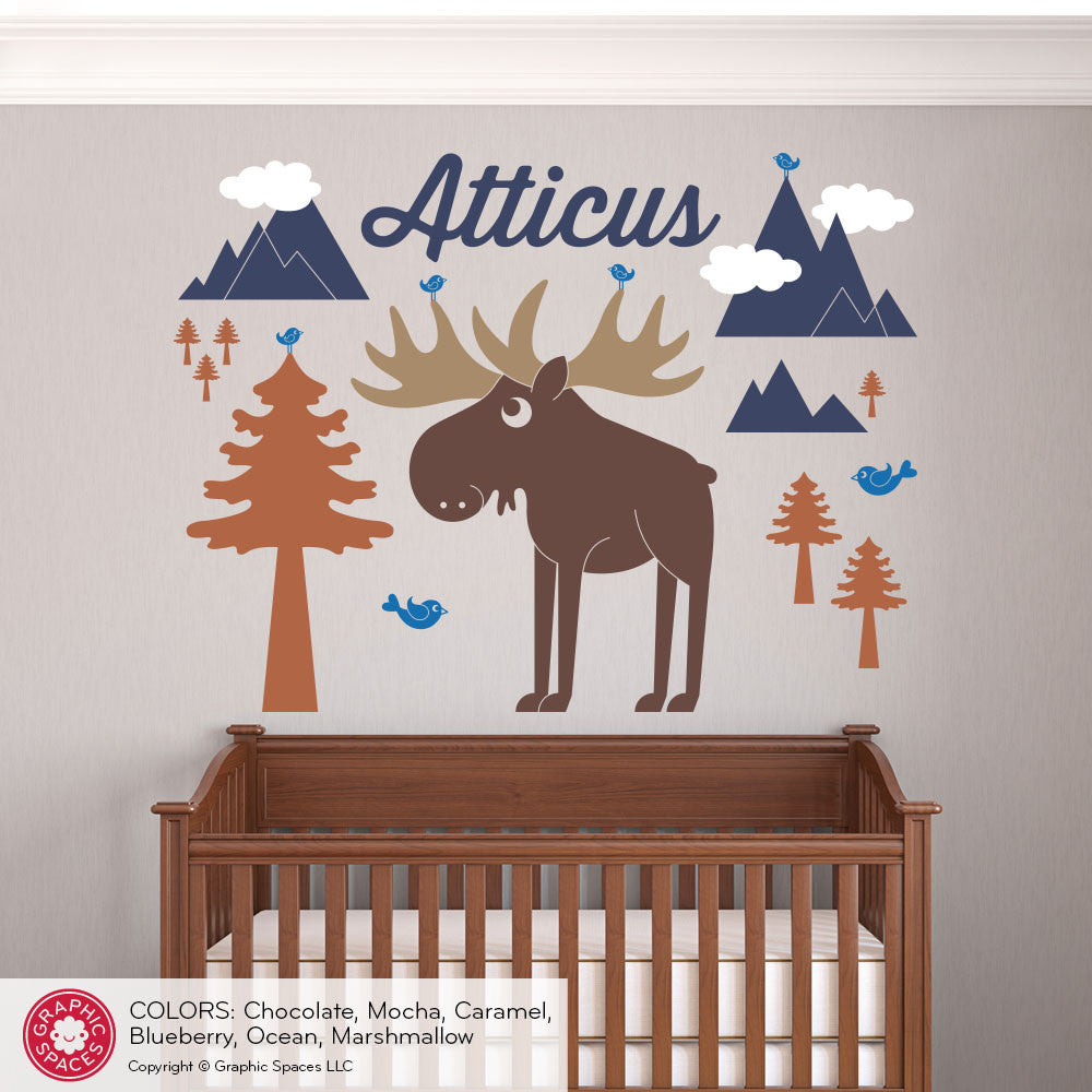 Moose Mountain With Name Wall Decal Graphic Spaces