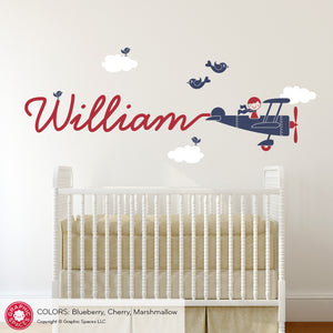 Airplane Skywriter Name Boy Wall Decal