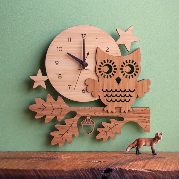 Night Owl Bamboo Wall Clock