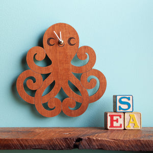 Happy Octopus Wooden Wall Clock
